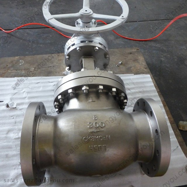 Alloy Steel Globe Valve, 8'' 300LB, CK3MCuN Body, Alloy 254 Trim, RF, Gearbox Operation
