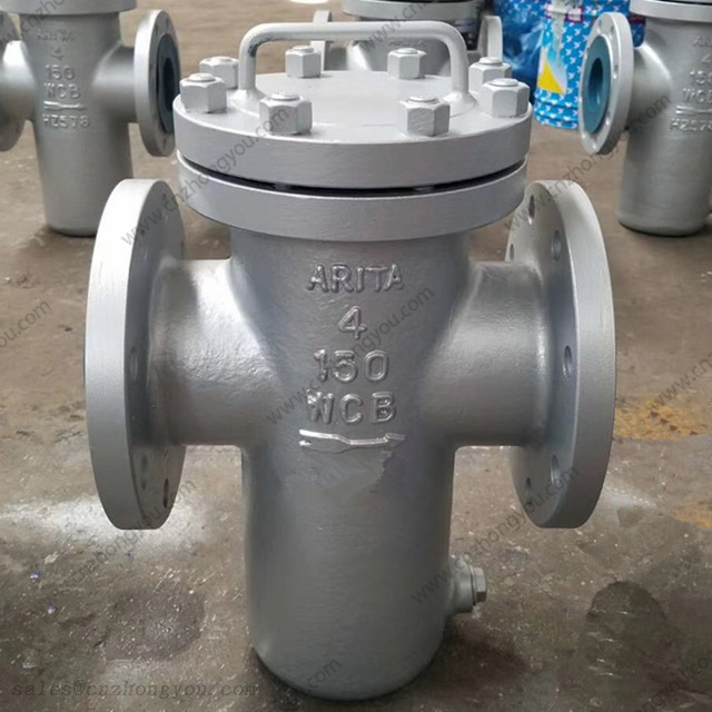 ARITA Casting Single Basket Strainer, 4'' 150LB, ASTM A216 WCB Body, SS304 Screen, RF