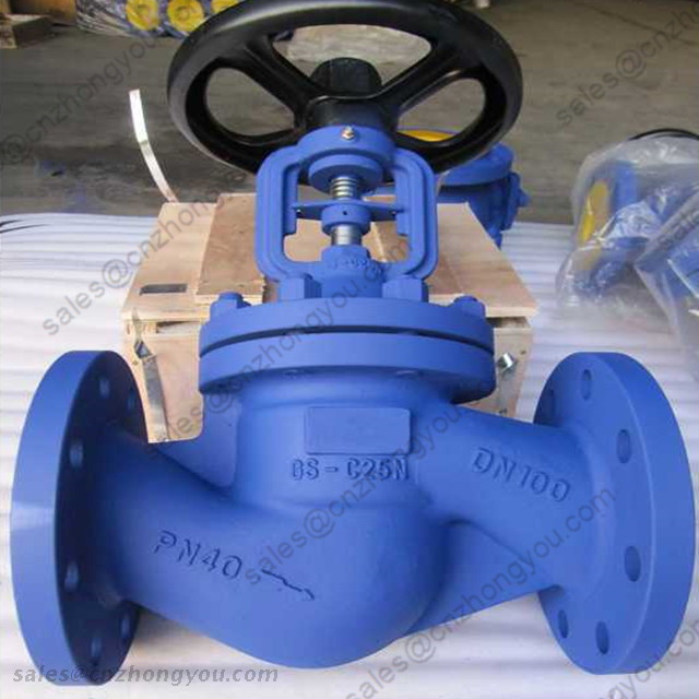 DIN Bellows Seal Globe Valve, DN100 PN40, GS-C25N Body, SS304 Trim, RF Ends, Handwheel Operated