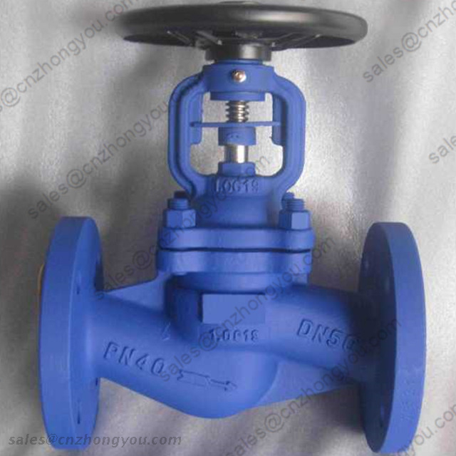 DIN Bellows Seal Globe Valve, DN50 PN40, 1.0619 Body, SS304 Trim, RF Ends, Handhweel Operated