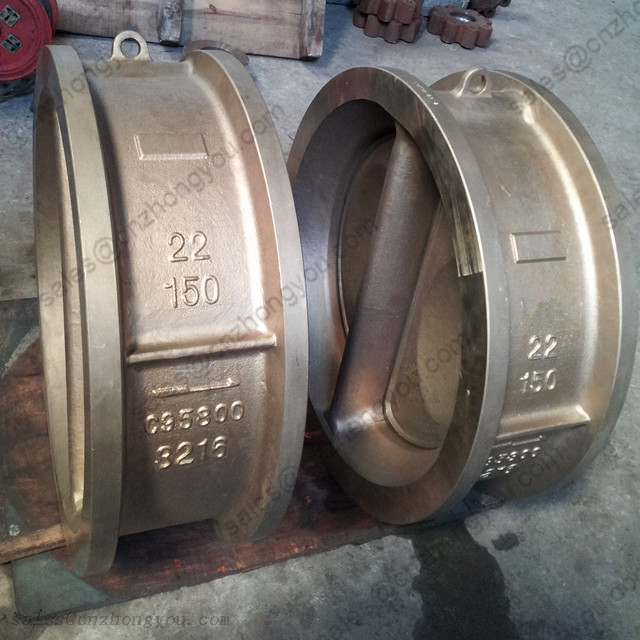 Dual Plate Wafer Check Valve 22'' 150LB, Bronze B148 C95800 Body, RF Ends