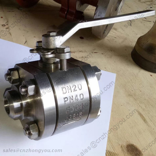 Forged Steel Ball Valve, DN20 PN40, ASTM A182 F304 Body, ASTM F304 Trim, BW Ends