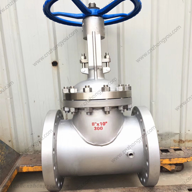Heated Jacket Gate Valve, 8''X10'' 300LB, ASTM A216 WCB Body, CS Jacket, Flanged End