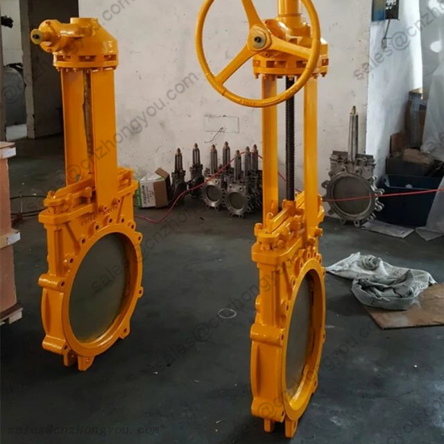 Knife Gate Valve DN400 PN16, A216 WCB Body, Gearbox Operated