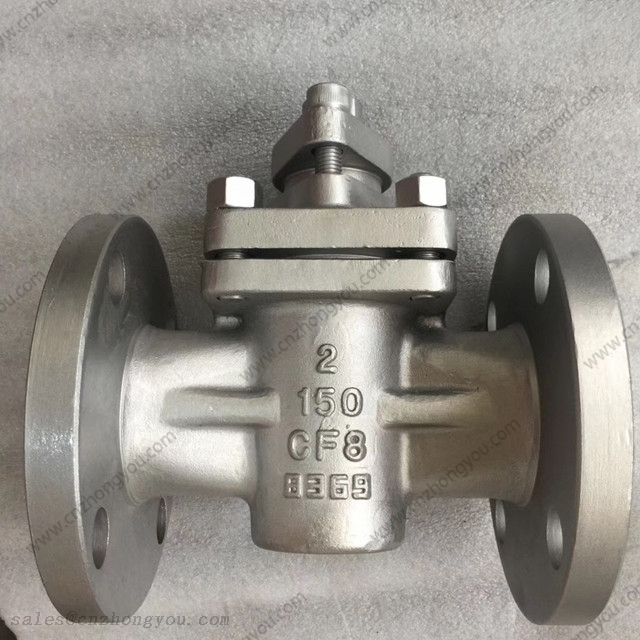 Lever Operated Plug Valve, 2'' 150LB, ASTM A351 CF8 Body, RF