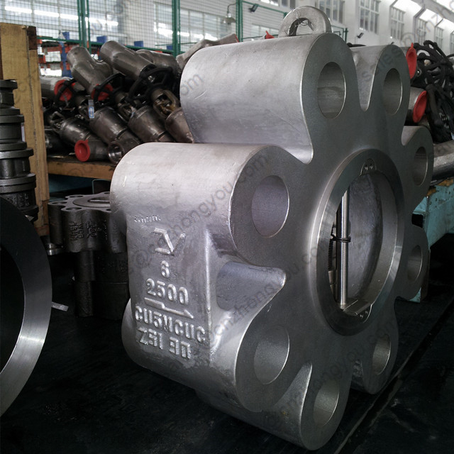 Lug Type Wafer Check Valve 6'' 2500LB, A494 CU5MCUC Body, RF Ends