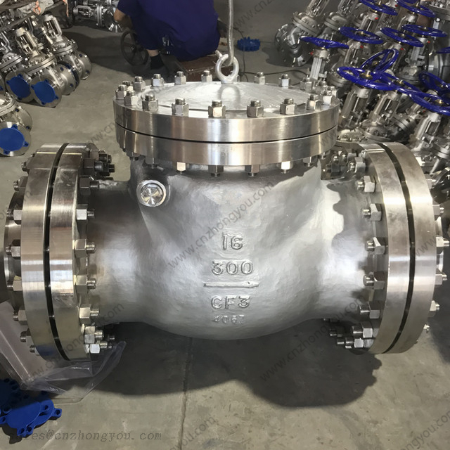 Swing Check Valve with counter flanges, 16'' 300LB, ASTM A351 CF3 Body, SS304L Trim, LMF Ends