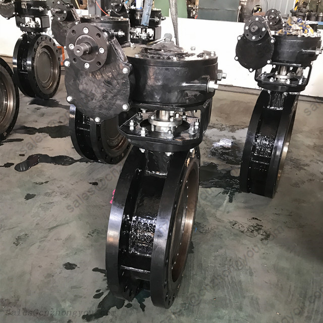 Wormgear Metal Seal Triple Eccentric Butterfly Valve DN500 PN25, ASTM A216 WCB Body, Flanged Ends