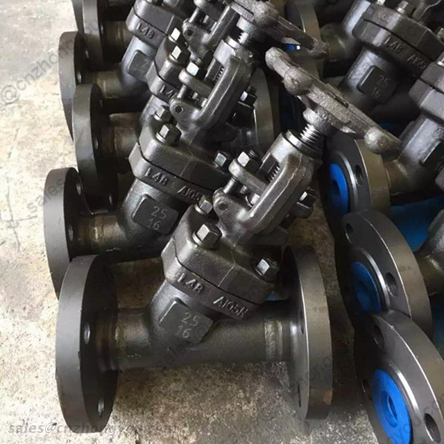 Y type Globe Valve, DN25 PN16, ASTM A105N Body, 13Cr Trim, RF Ends