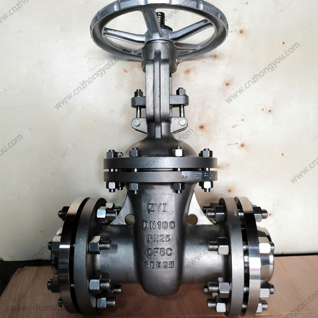 ZYI Gate Valve, DN100 PN25, ASTM A351 CF8C Body, SS321 Trim, Tongue Flanged Ends