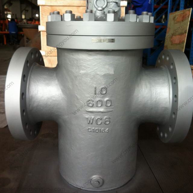 Casting Bucket Strainer, 10'' 600LB, ASTM A217 WC6 Body, SS304 Screen, Flange Ends
