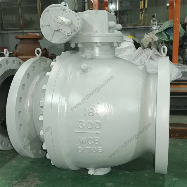 2PCS Ball Valve, 18'' 300LB, ASTM A216 WCB Body, 13Cr Trim, RF Ends, Wormgear Operated